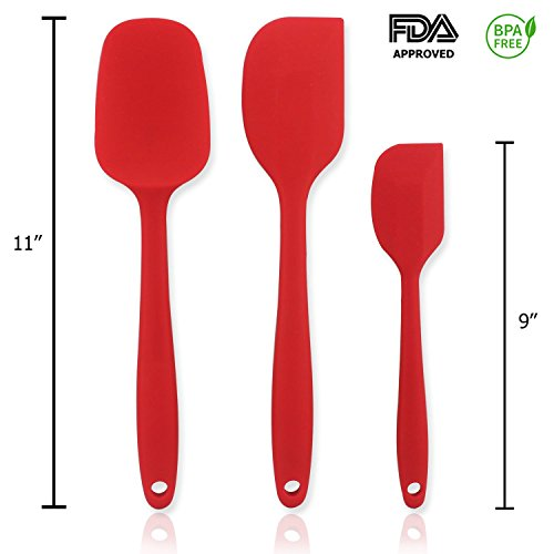 3 Piece Rubber Spatula Set with Comfortable Wide Handle For Baking Kitchen Cooking Utensil 450