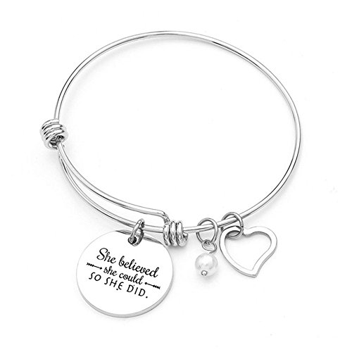 Charm Bracelet for Women Girls - She Believed She Could So She Did - Adjustable Bangle Inspirational Jewelry Gift Valentine Birthday Anniversary Christmas