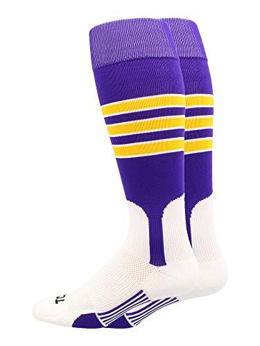 MadSportsStuff Baseball Stirrup Socks 3 Stripe (Purple/Gold/White, ()