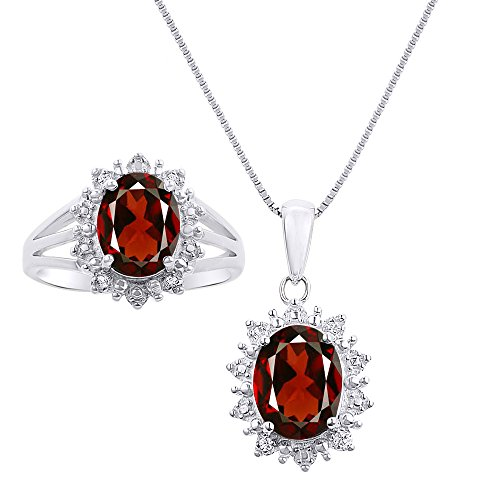 Diamond & Garnet Matching Pendant Necklace and Ring Set In Sterling Silver .925 Princess Diana Inspired Halo Designer Style by Rylos