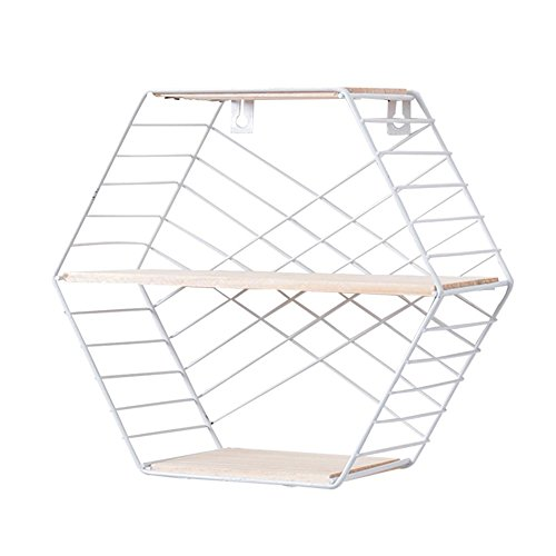 (Wall Mounted Hexagon Floating Shelves, Metal Wire Hanging Display Shelf Brackets Art Decor for Living Room Bedroom Decor Photos, Collectibles, Plants)