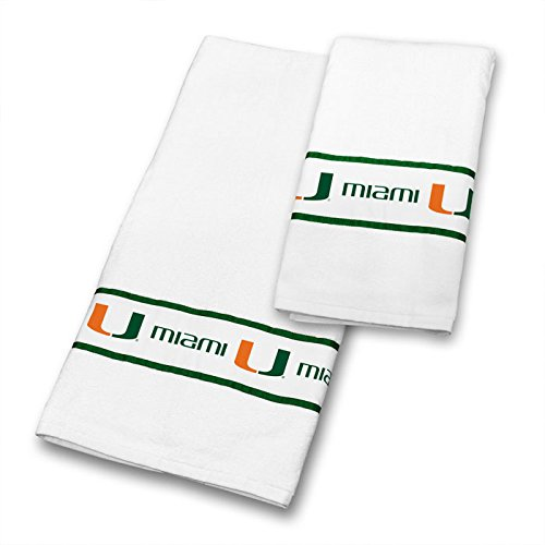 Miami Hurricanes COMBO Shower Curtain, 4 Pc Towel Set & 1 Window Valance - Decorate your Bathroom & SAVE ON BUNDLING! by Sports Coverage