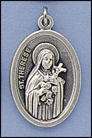 (100 Piece Pack, Patron Saints Medals, St. Theresa the Little Flower, Italian Oxidized Silver)