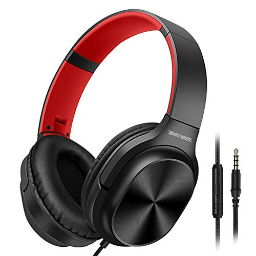 Besom On-Ear Headphones with Microphone Lightweight Folding Stereo Headset Tangle Free Cord, Wired Headphones for…