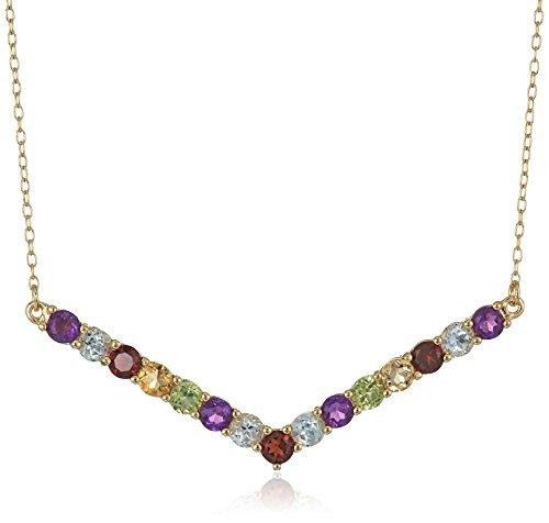 Necklace Amethyst Garnet (18k Yellow Gold Plated Sterling Silver Genuine Multi Gemstone Chevron Necklace, 16