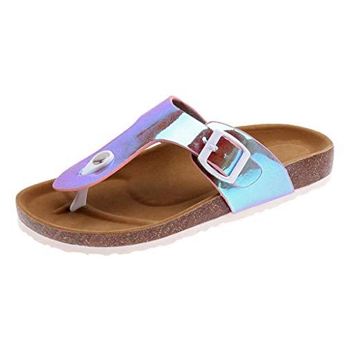 Xinantime Women's Cork Sequins Flip Flop Soft Bottom Slip Cork Sandals Unisex Slippers Leisure Comfortable Sneakers Pink ()