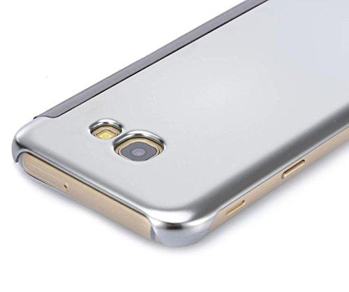 Samsung Galaxy A3 2017 Hybrid Funda de Cuero +PC, Vandot Ultra Slim Ligero Flip Funda con tapa con Smart Clear S-View, [Espejo Efecto] [Auto-Sleep/Wake-up] [Función Atril] 360 Protección de Cuerpo Com Flip Plata