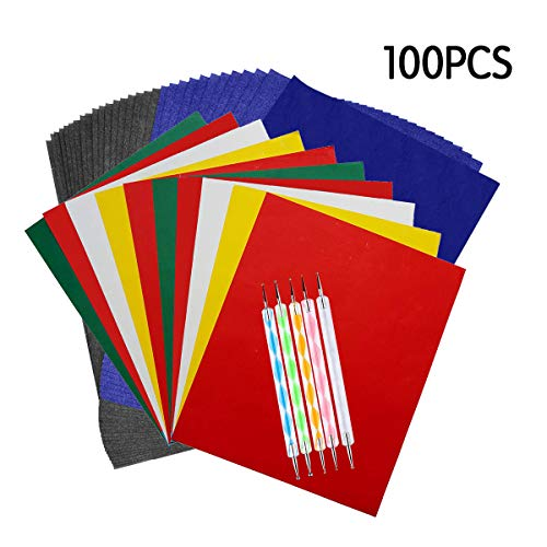 100 Sheets Carbon Transfer Paper,Tracing Paper Carbon Graphite Copy Paper with 5 Pieces Embossing Styluses Stylus Dotting Tools for Wood,Paper,Canvas and Other Art Surfaces 8.3 x 11.7inch from Oubaka
