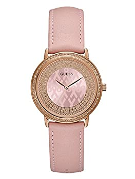 Guess Women's Quartz Stainless Steel & Leather Casual Watch, Color:pink (Model: U0032l7) 0