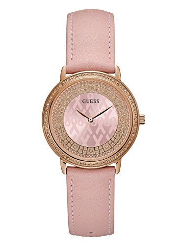 GUESS-Womens-Quartz-Stainless-Steel-and-Leather-Casual-Watch-ColorPink-Model-U0032L7