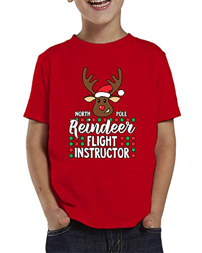 (SpiritForged Apparel North Pole Reindeer Flight Instructor Toddler T-Shirt, Red 5T/6T)