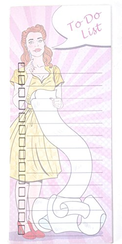 Magnetic Notepad For Refrigerator - Cute Retro Girl To Do List Pad With 50 Sheets - 3.66