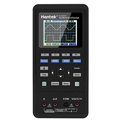 Hantek 2 in 1 Handheld Digital Oscilloscope + Multimeter Dual-channel 2 Channels USB Scopemeter Portable Scope Meter 40MHz Bandwidth 250MSa/s Sample Rate 2C42 TFT LCD Display Test Meter