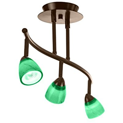 Cal Lighting SL-954-3-RU/GNF Track Lighting with Green Fire Glass Shades, Rust Finish