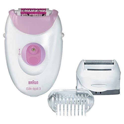 Braun Silk-épil 3 3-270 Epilator for Women, Hair Removal, White/Pink, with 3 Extras (Braun Shaver Corded)