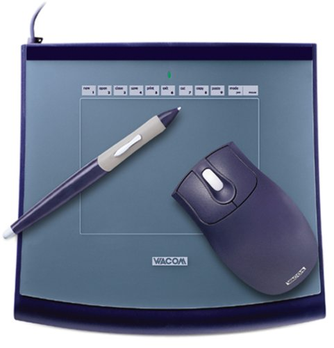 Wacom Intuos2 4 x 5 - Mouse, digitizer, stylus - 5 x 4 in - electromagnetic - 3 button(s) - wired - USB - blue - retail by Wacom