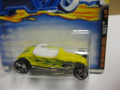 Wheels 2000 Magazine (Hot Wheels 2000 Hot Rod Magazine Series - TRACK T - YELLOW & White with FLAMES - WAYNE'S BODY SHOP - Col. #006)