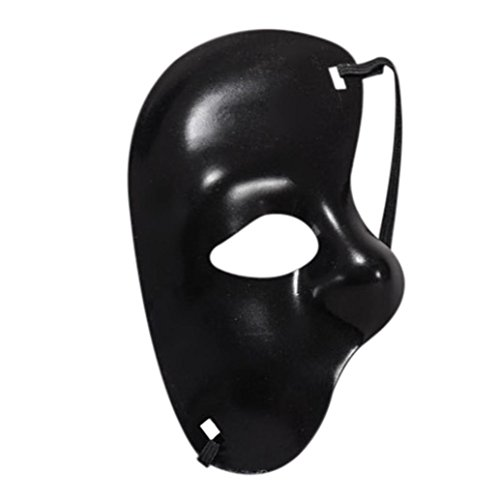 YJYdada Masquerade Mask Halloween Cutout Prom Party Mask accessories (Black) -