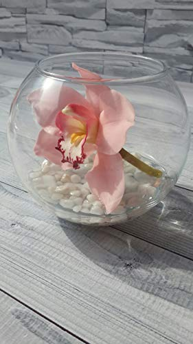 Pink clay orchid in glass, clay orchid, orchid centerpiece, orchid in glass, artificial flowers arrangement, cold porcelain, orchid arrangement, clay orchid bouquet, artificial ()