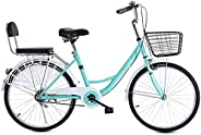 24 Inch Classic Bicycle, Beach Cruiser Bicycle,Retro Bike Comfort Bicycle Commute Body Ease Women's Commit