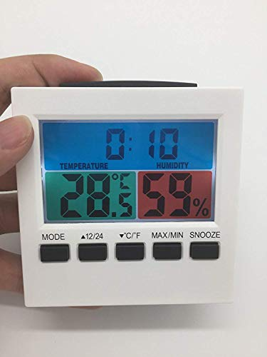 Barry Century Indoor Weather Station,Multifunctional LCD Color Screen Temperature Humidity Meter Weather Station Clock,Suitable for Home and Office,White