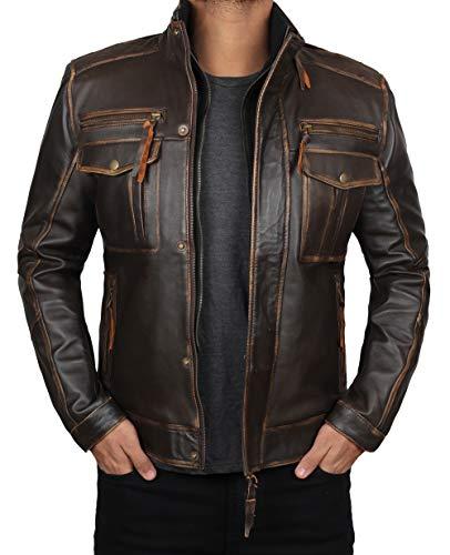 Decrum Distress Brown Leather Jackets Men| [1100205] Moffit, XL
