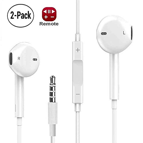 EldHus 2-Pack Ear Buds with Volume Control, Stereo Headphones with Mic, Android Earphones Noise Cancelling Earbuds for 3.5 Port, 3 feet, White