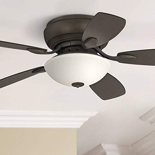 44 Casa Habitat Modern Hugger Ceiling Fan with Light LED Dimmable Oil Rubbed Bronze White Glass for Living Room Kitchen Bedroom Family Dining – Casa Vieja