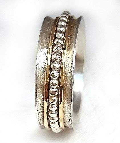 Unisex Rotating Wedding Ring with Gold and Ball Spinners