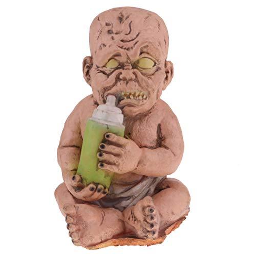 SM SunniMix Creepy Latex Zombie Baby Doll Drinking Milk Halloween Coffee or Bars Decor -