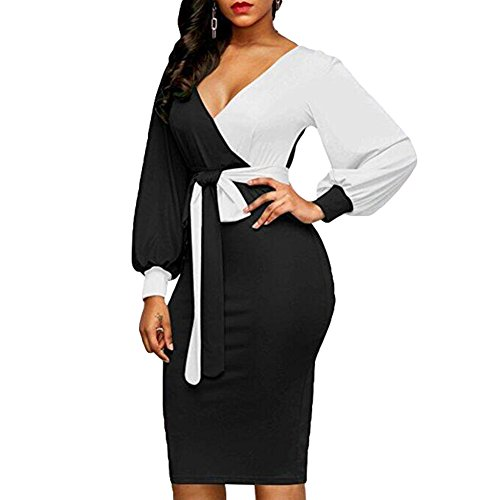 Longues Robe Tunique de Robe Femmes Mariage V Cocktail Juleya soire Noir blanc Couleur Manches Moulante de Cou Patchwork Mesdames Robes W4qOqaTPw