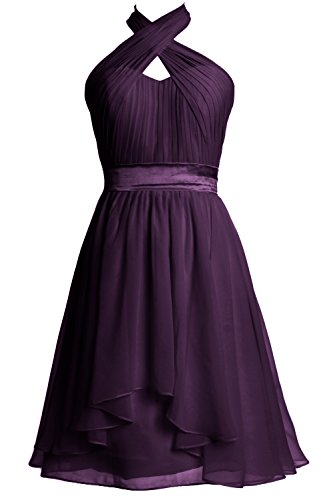 Women Halter Party Formal Cocktail Dress Short MACloth Bridesmaid Plum Chiffon Gown dqUwWY