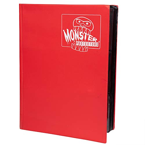 Monster Binder - 9 Pocket Trading Card Album - Matte Red - Holds 360 Yugioh, Magic, and Pokemon Cards ()