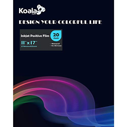 Koala Inkjet Transparency Positive Film 11x17 Inches 20 Sheets Waterproof for Screen Printing
