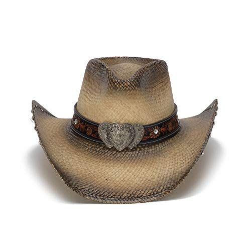 1708fa064 Stampede Hats Women's Sabrian Heart Rhinestone Western Hat S Tea Stain