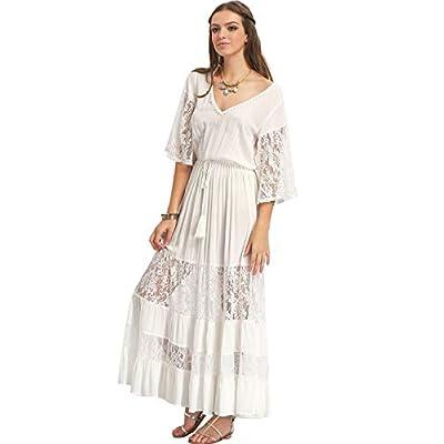 Milumia Women's Bohemian Drawstring Waist Lace Splicing White Long Maxi Dress at Women's Clothing store