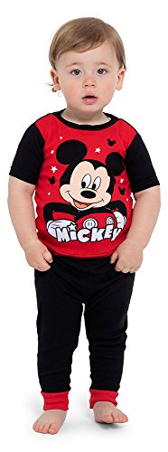 Disney Boys' Toddler Mickey Mouse 4-Piece Cotton Pajama Set, Black, 2T]()