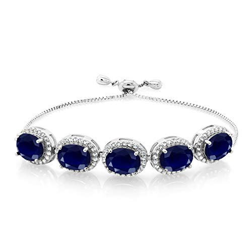 Gem Stone King 13.55 Ct Oval Blue Sapphire 925 Sterling Silver Adjustable Bracelet