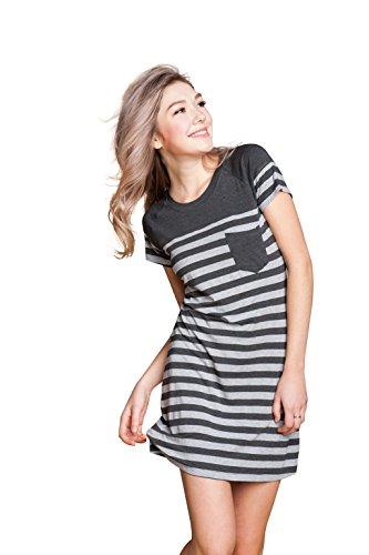 Suntasty Women's Nightgown Cotton Sleep Shirt Striped Robes Nightwear(Grey,L,1004W)
