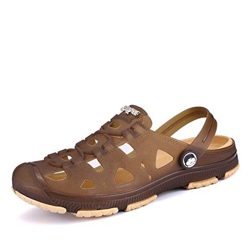 Xing Lin Sandalias De Hombre Zapatos Sandalias Zapatos Bolsa De Playa Café Chaqueta De Agua De Plástico De Plástico Antideslizante Ocio Baotou Transpirable Hueco De Ocio Diario brown