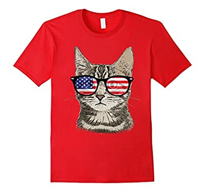 USA America Cat Kitten Patriotic Sunglasses Funny T-Shirt