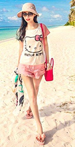 Minetome Mädchen Damenschuhe süße Schleife Plateau Sandaletten Dick Absatzform Sandalen Keilabsatz Zehentrenner Badeschuhe Hausschuhe Freizeit Strandschuhe Pantoletten Flip Flops Pink