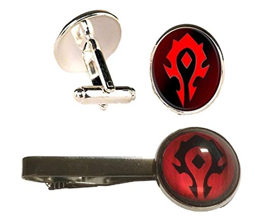 New Horizons Production World of Warcraft Horde Logo Glass Domed Cuff Links & Tie Clip Set