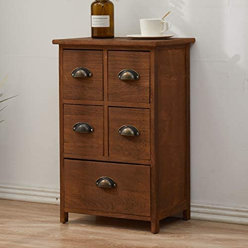 Rebecca Mobili Chest of drawers Dresser 1 Big Drawer 4 Small Drawers 4 Brass Handle Wood Brown Rustic Design Bedroom Hallway - 66 x 40 x 30 cm (H x W x D) - Art. RE4107