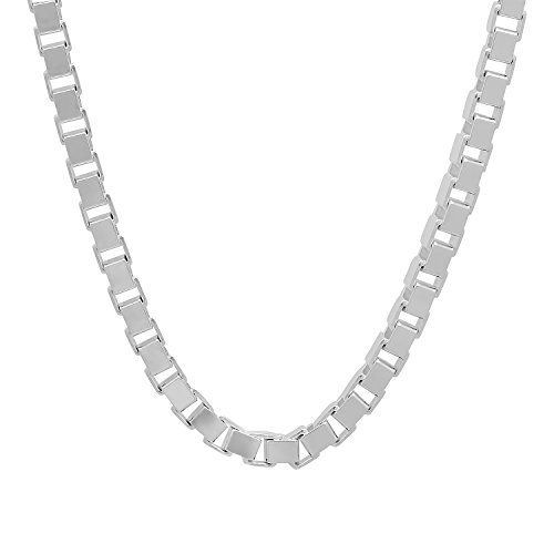 """4.5mm Solid 925 Sterling Silver Squared Box Link Italian Crafted Chain, 24"""" + Microfiber Jewelry Polishing Cloth"""