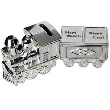 Personalized Engraved Train Money Bank Block and Tooth and Curl Trinket Box- Shipped From - Curl Trinket