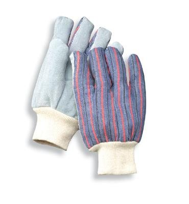 Economy Leather Palm Gloves - Radnor® Large Economy Grade Split Leather Palm Gloves With Knit Wrist And Striped Canvas Back