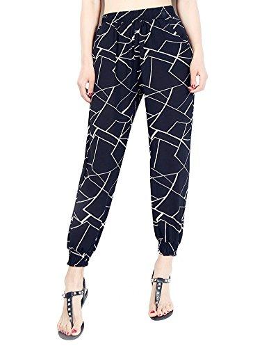 Style Harem Vita Tasca Con Spiaggia Boemia Sciolto Pantaloni Alta Donna 3 Stampa OqWv4v