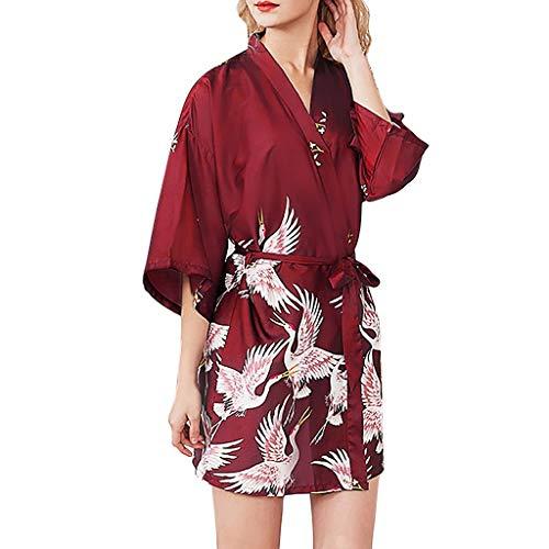 (RAINED-Women's Satin Robe Long Kimono Bathrobe Floral Short Sleeve V-Neck Nightgown Robe for Wedding Party Wine)