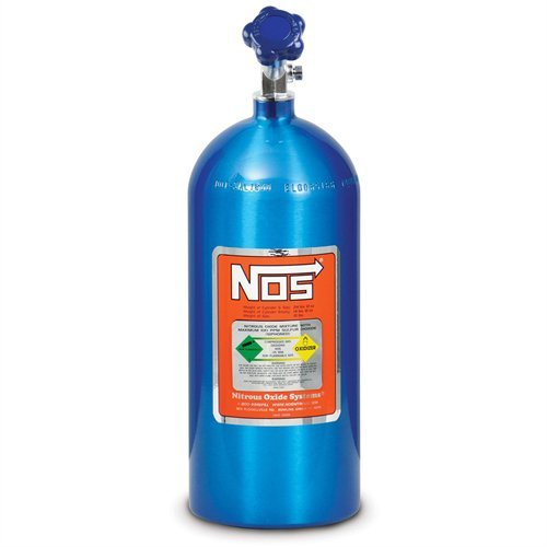 NOS 14745NOS Electric Blue 10-pound Aluminum Nitrous Bottle with Hi-Flow Valve (Bottle Nos)